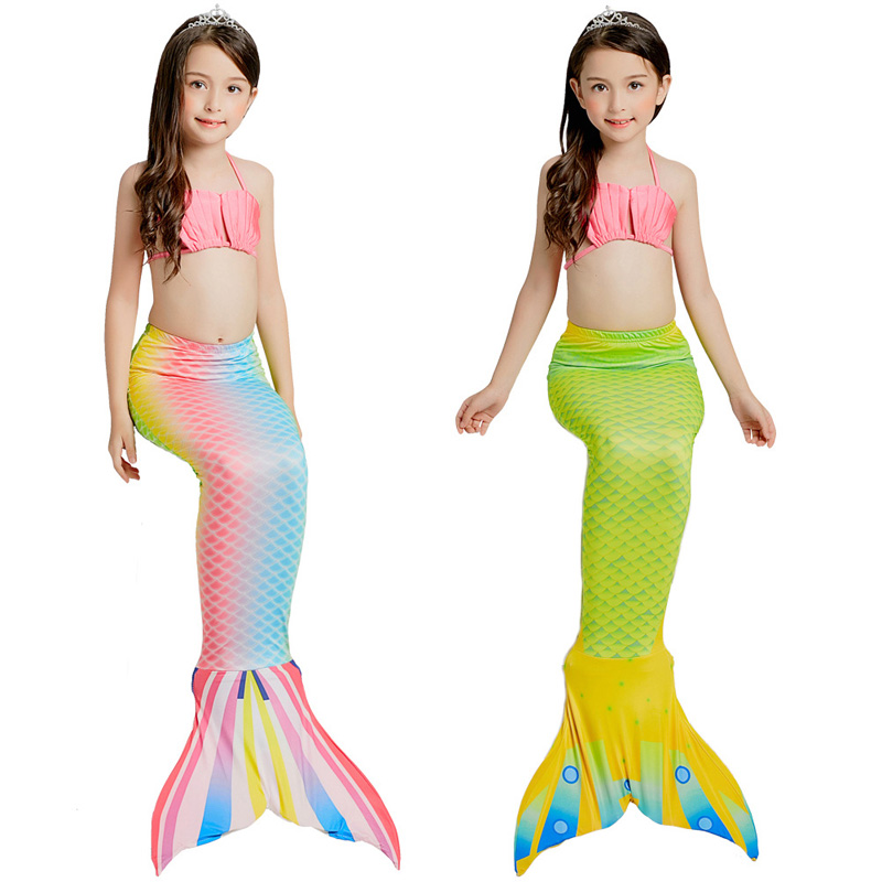 The Little Mermaid Tail Costume Princess Ariel Children Mermaid Tail Cosplay Kids for Girl Fancy Swimsuit 3PCS/Set 2 Colors