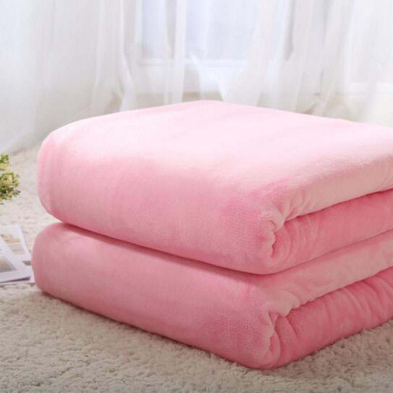 Double Lambskin Blanket Coupe Thick pure Colour Embossing Cover Blanket Home Decor Soft Absorbent Warm Flannel Throw Blanket in Throw from Home Garden