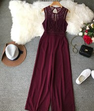 Euro-American Style Hollow Summer Lace Jumpsuits Loose Women Stitching Sleeveless High Waist Wide Leg Rompers
