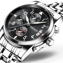 Mens Wristwatch Quartz Stainless Steel Chronograph High Quality Watches