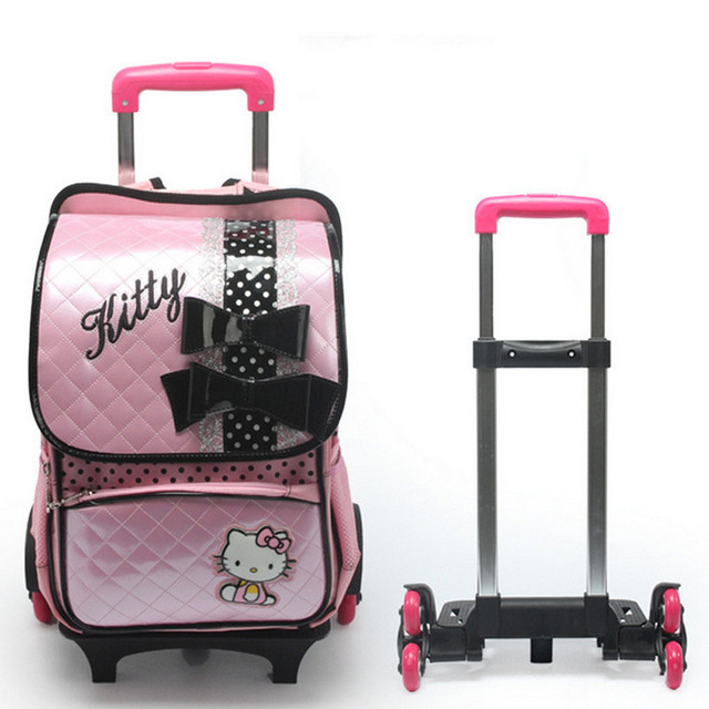 7da505ef65 Waterproof High Quality Removable Children Trolley Wheels Bags For Grade1-6  Girl Kids PU Leather Hello Kitty 3 Wheels School Bag. Price