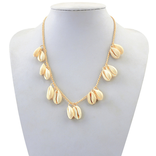 8a6ef30bcc9b 2017 nueva moda natural Conchas bolas gargantilla collar hecho a mano para  mujer Bohemia verano playa