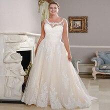 New Arrival Scoop Neck Plus Size Wedding Dresses Sleeveless Lace Applique A-line Bridal Wedding Gowns Vestido De Novia