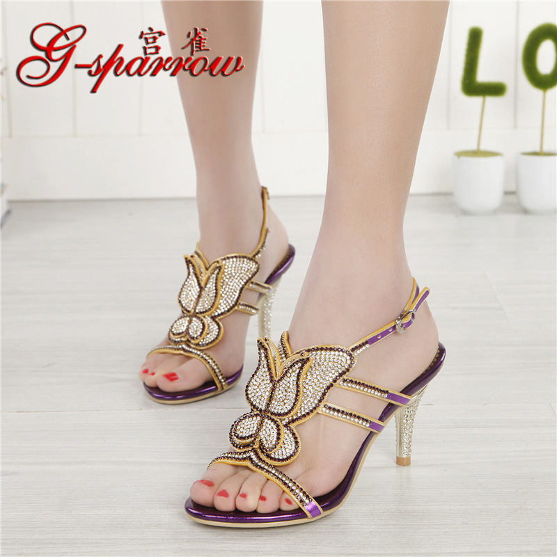 233d90b52dd8ef 2018 Summer New Women s Luxury Diamond Female Handmade Sandals And Slippers  Stiletto Shoes High Heels Size 11 - imall.com
