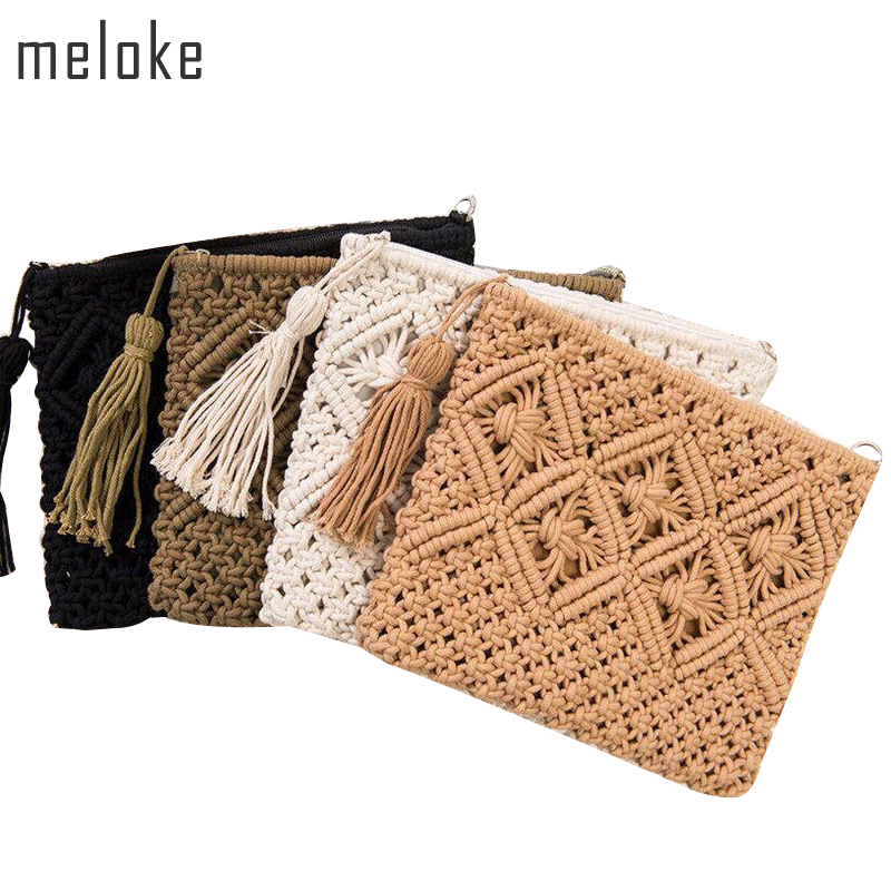 Meloke 2019 high quality fashion women hollow out clutch bags brand tassel beach bags handmade kont message bags MN583