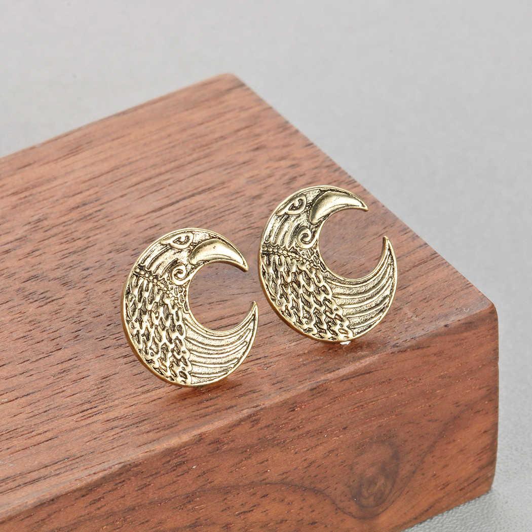 Kinitial אופנה נחושת רטרו גיאומטרי LUNULA עגילי סקנדינבי הנורדית ויקינג רייבן אתני פגאני ירח עגיל תכשיטים