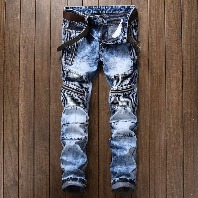 Newsosoo Men's Pleated Biker Jeans Pants Slim Fit Brand Designer Motocycle Denim Trousers For Male Straight Washed Multi Zipper 3