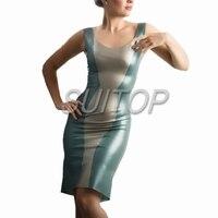Латекс Эротическое платье женщина в металлического цвета, резиновые