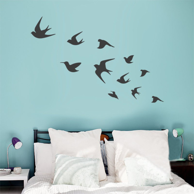 Captivating Flying Bird Vinyls Wall Decals Birds Wall Art Interior Decal DIY Removable  For Living Room Bedroom