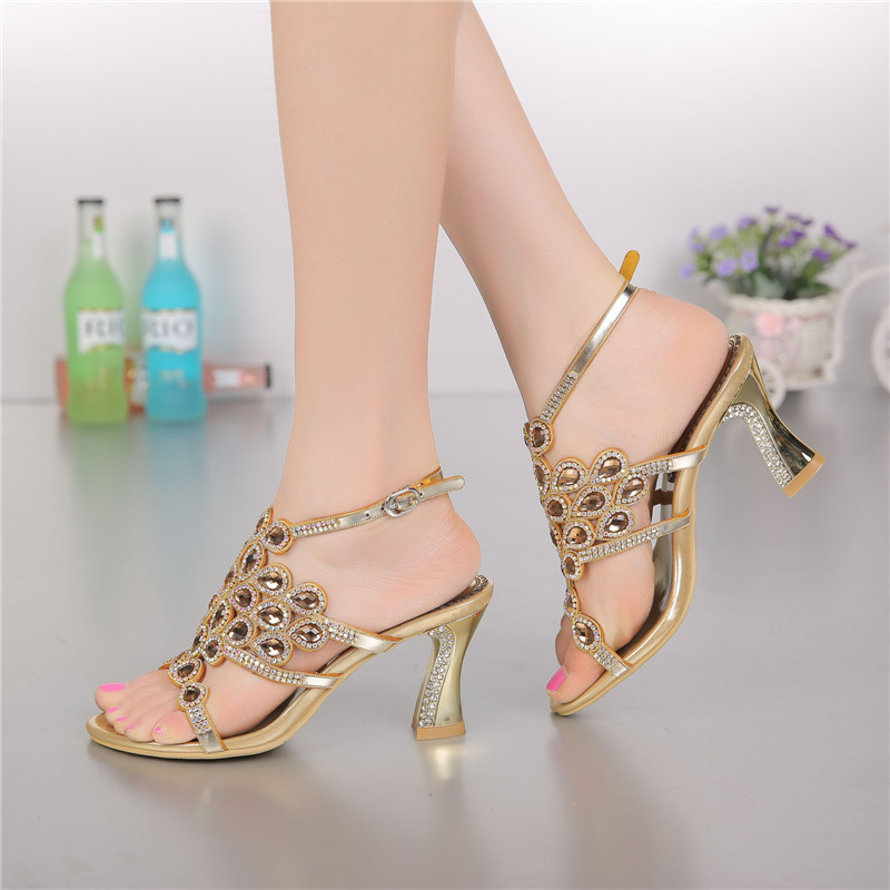 31ace178f84665 2017 Summer New Women s Luxury Diamond Female Handmade Sandals And Slippers  Stiletto Shoes High Heels Size 11-in Women s Sandals from Shoes on ...