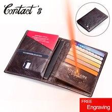2020 kontakts Echtes Leder Vintage Brieftasche Reisepass Reisetasche Geldbörse Kreditkarte Brieftaschen Für Männer Marke Designer