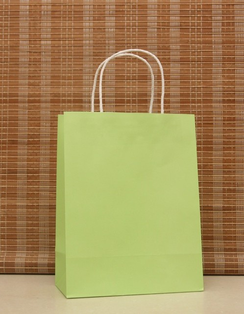 40pcs 21x15x8cm Small Soft Green Kraft Paper Bag With Handles For Gifts S Wedding Guests Whole