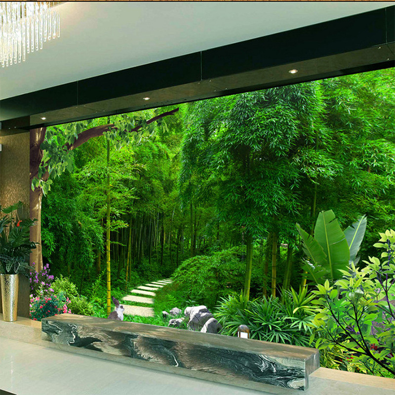 Custom 3D Mural Wallpaper Living Room Bedroom Sofa TV Background Wallpaper Green Bamboo Green Fresh Photo Waterproof Wallpaper