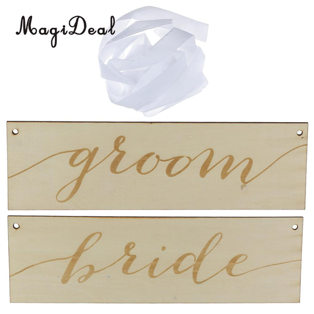 MagiDeal Shabby Vintage Wood Wedding Sign With Ribbon for Bride Groom Engagement Chair Plaque Set Hanging Party Decor Burlywood