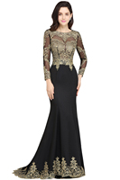 Robe de Soiree Longue Sexy Open Back Long Sleeve Mermaid Lace Black Evening Dress  Cheap Evening Gown Vestido de Festa 1