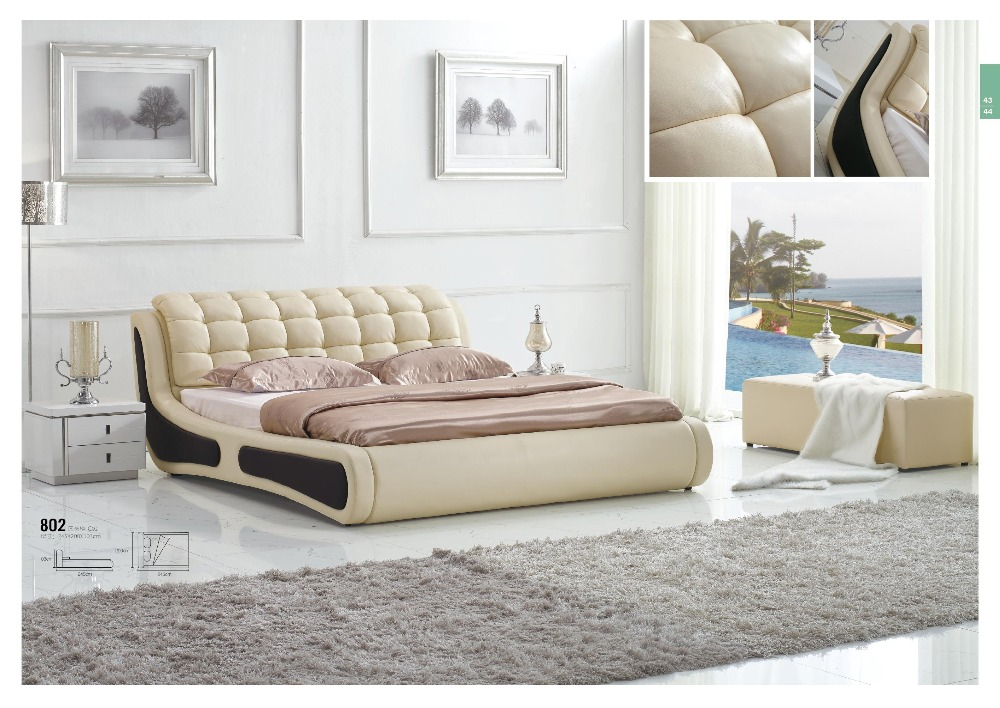 Luxury Bedroom Furniture King Size Bed Leather Material Wooden Frame