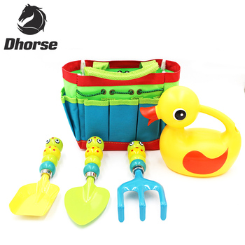 Dhorse 5Pcs Children Combination Utility Garden Tools Set Including Rake Trowel Shovel Spray Bottle With Cloth Bag SX083