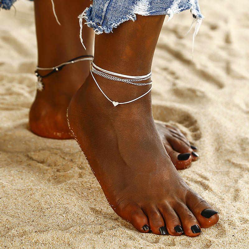NS41 2018 女性アンクレットシンプルなハート裸足かぎ針サンダルフットジュエリー多層足ブレスレットアンクレット