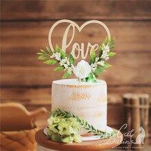 Ins amor flor feliz aniversário bolo toppers rosa branca decoração casamento dia dos namorados decorações de festa cozimento presentes doces