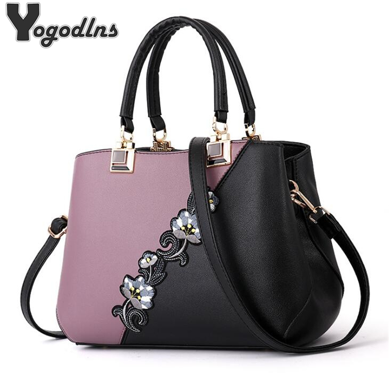 Fashion Women Handbags PU Leather Embroidery Bags Brand Luxury Shoulder Bag Hit Color Top-handle Hand Bags Flower Messenger Bag