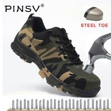 PINSV/ защитная обувь, камуфляжные мужские рабочие ботинки, ботинки со стальным носком, Flyknit Mesh, Мужская Уличная рабочая обувь, большие размеры 35-48