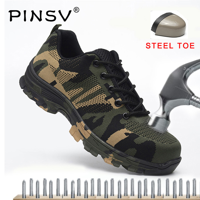 PINSV 2018 Safety Shoes Camouflage Men Work Boots Steel Toe Boots Flyknit Mesh Men Outdoor Work Shoes Big Size 35-48