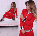 Women women Suit 2016 New Fashion O-Neck Full Sleeve Hoodies Red Blue Patchwork Tracksuits Sweatshirts Sets moleton feminino