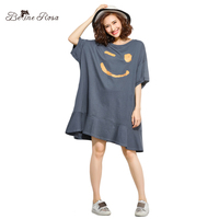0e22f5864f0bd BelineRosa 5XL 6XL Plus Size Women Dresses Casual Style Smile Face Korean  Style Ruffled Short Sleeve
