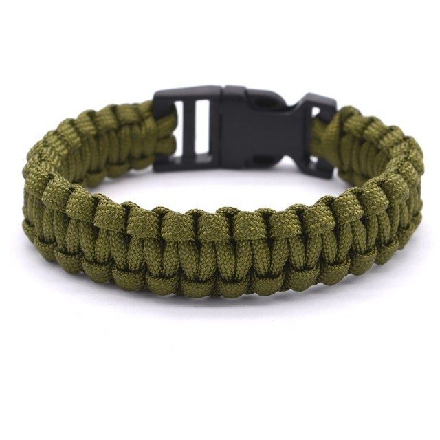 Outdoor Travel Camping Thin Army Green Braided Cobra Weave Plastic Buckle Paracord Survival Bracelet