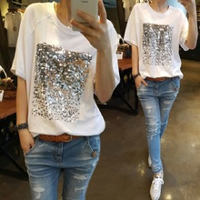 Summer 2019 new Korean version of the loose large size cotton sequins bamboo white  female short-sleeved fitness