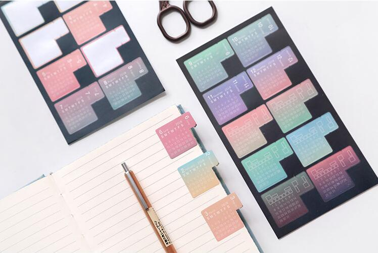 WOKO 4pcs New Gradient 2020 Year Calendar Sticker Notebook Index Monthly Category Sticker Planner Accessories Slip Sheet Escolar