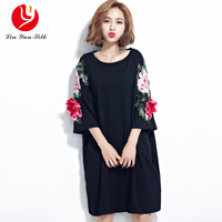 2018 embroidery t-shirt Plus size Dress loose Korean Style new black embroidery long cotton large size women's clothing