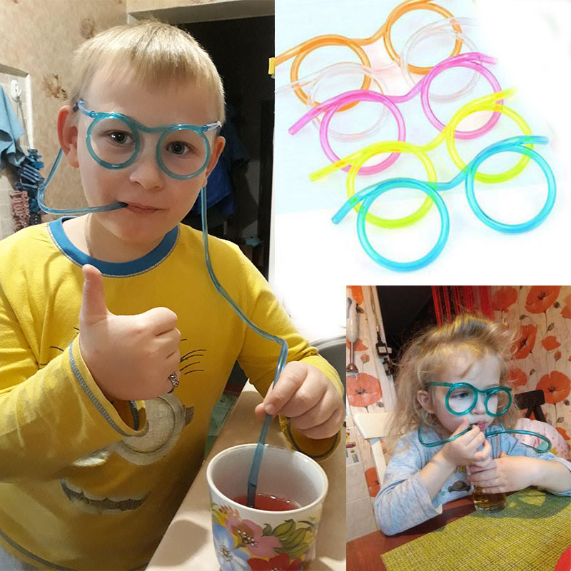 Funny Colorful Soft Glasses Unique Flexible straw Drinking Tube Kids Party joke