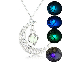 Lovely Locket Hollow Spiral Crescent Glowing Stone Pendants&Necklaces Silver Color Chain Moon Glow In The Dark Necklaces Sales