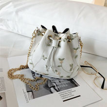 New Women Bag Chinese National Wind Embroidery Leather Bucket Bag For Lady Fashion Drawstring Beach Shoulder Crossbody Bag(China)