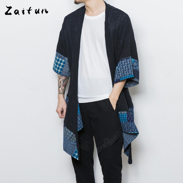 ZAITUN Brand New Long Sytle Men Shirts Floral Print Open Stitch Short Sleeve Chinese Traditional Linen Cool Casual Social Shirts