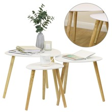 3 Pcs/Set Kitchen Dining Table White Round Coffee Table Modern Leisure Wooden Tea Table Office Pedestal Desk Home Furniture