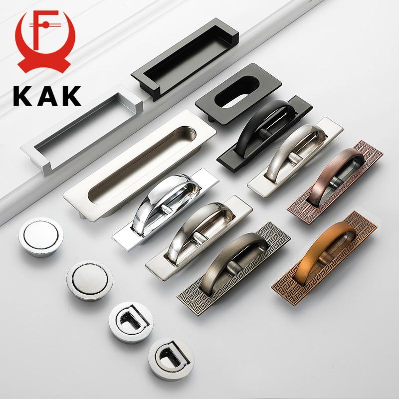 KAK Tatami Porta Escondida Lida Com Liga de Zinco Recesso Rubor Puxar Piso Cobertura Punho Do Armário Mobiliário Hardware Alça de Bronze Preto