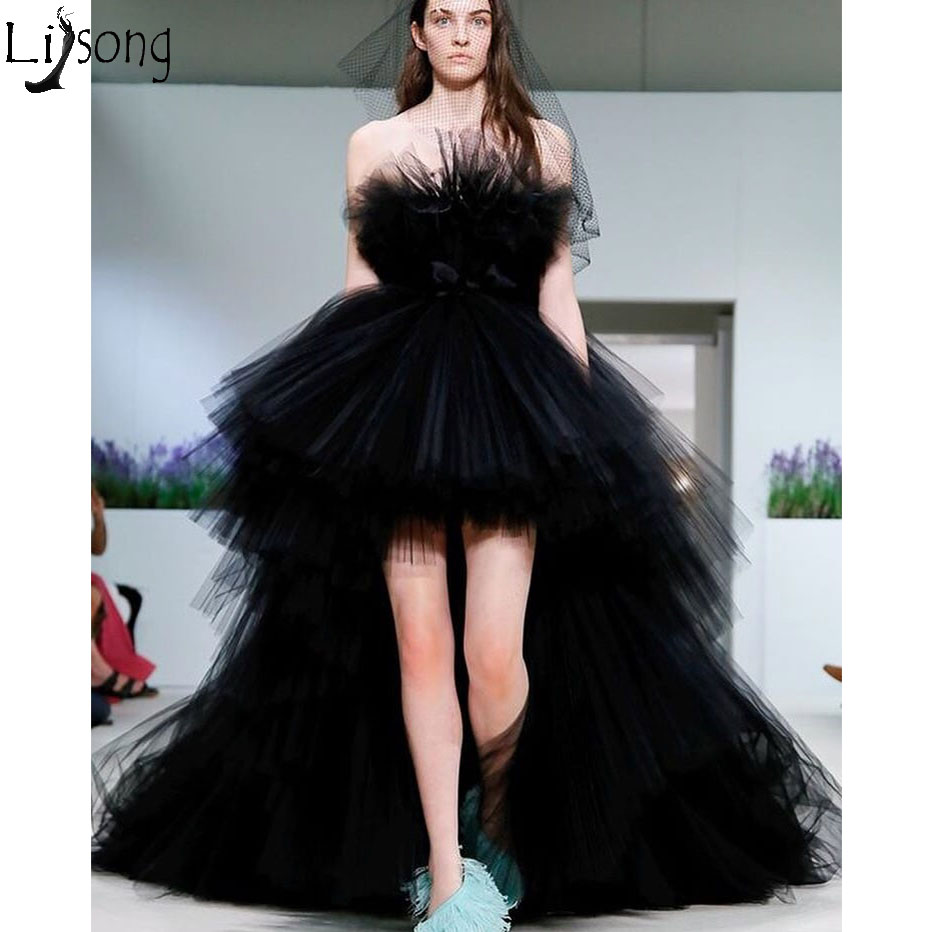 Hot Sale Black Hi Low Prom Dresses 2019 Hippie Style Strapless High Low Puffy Tulle Evening