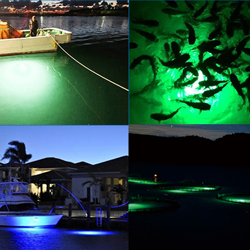 Image 5 - 30W Fish Attractor Lamp IP68 Waterproof Underwater Light Sea Night Fishing LED Lure Lighting DC12V-in Marine Hardware from Automobiles & Motorcycles