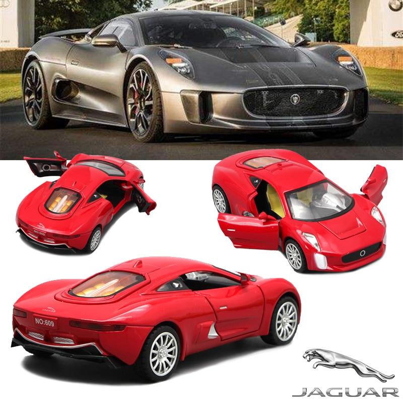 1/32 Diecast Scale Modell Jaguar CX-75, 15cm metall billeksaker för barn, barn pojkar närvarande med drag tillbaka funktion / musik / ljus