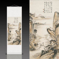 Zhang Daqian's antique silk scroll painting (light grey)