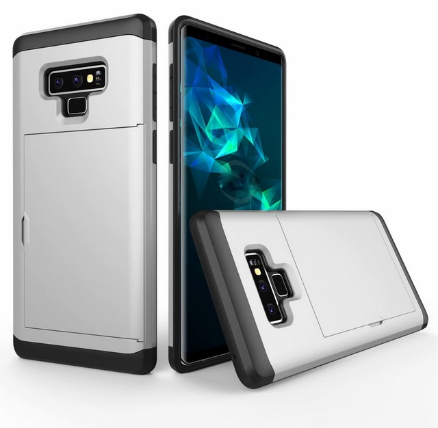 san francisco e71da 2c676 US $5.51 8% OFF For Samsung Galaxy Note 9 Wallet Case Hard Slim Heavy  Hybrid Armor Card Slot Stand Shockproof Protect Back Cover Case -in  Half-wrapped ...