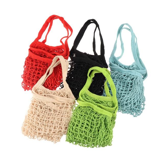 2018 г. новые женские многоразовые твердые сумки Строка Бакалея сумка шоппер Хлопок Tote сеточку тканые Портативный прочная сумка для покупок