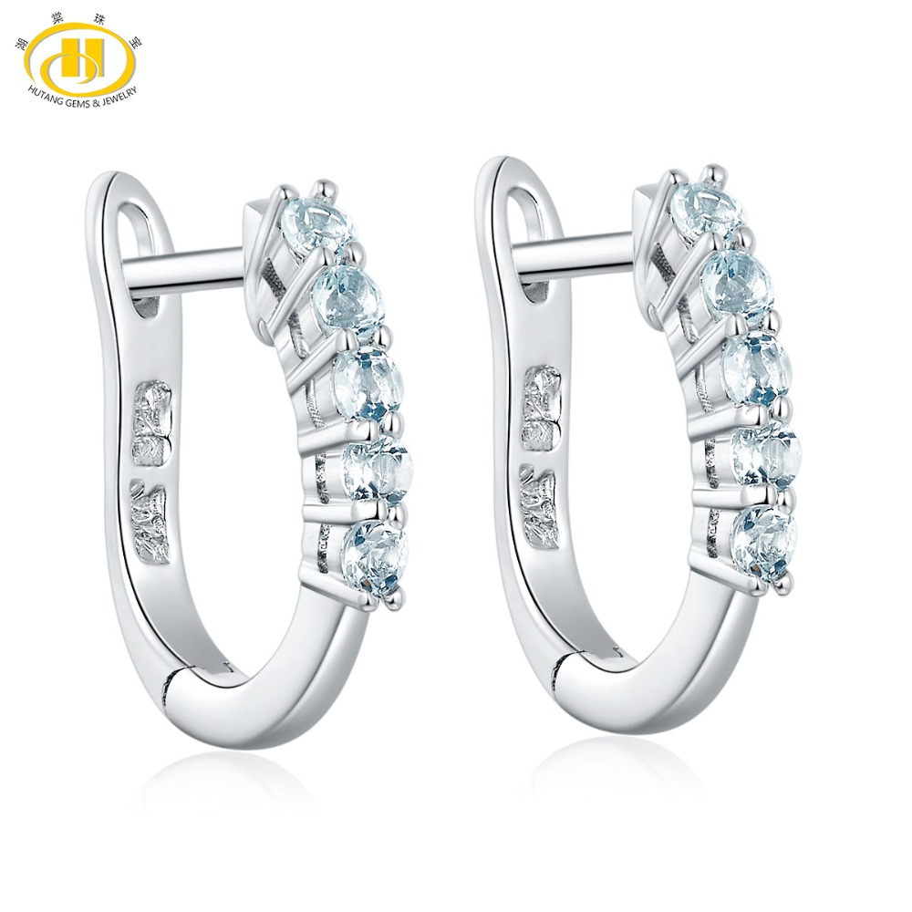 Hutang Gemstone Jewelry Natural Aquamarine Hoop Earrings Solid 925 Sterling Silver Fine Stone Jewelry March Birth Gift For Women