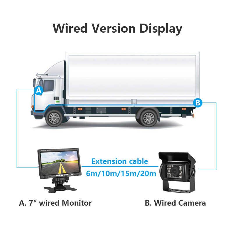 Jansite 7 بوصة TFT LCD رصد سيارة عرض السلكية كاميرات عكس كاميرا نظام صف سيارات ل سيارة الرؤية الخلفية شاشات اثنين من إدخال الفيديو