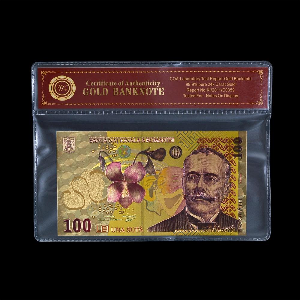 Поддельные цветные золотые банкноты из Румынии 100, бумажные банкноты RON, украшение для дома
