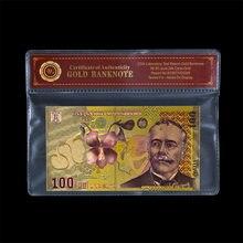 Cor falsa cédula de ouro roménia 100 ron notas de papel moeda decoração casa