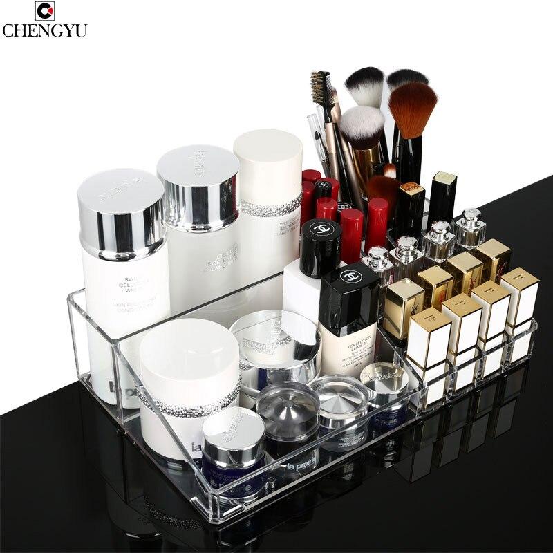 Transparent Desktop Portable Cosmetic Makeup Organzier Transparent Creative Lipstick Skin Care Dresser Storage Boxe 32*19*7.8cm
