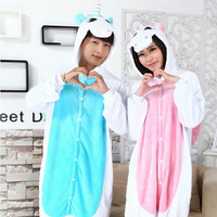 New Unisex Flannel Rilakkuma Pajama Adult Cartoon Unicorn Cosplay Homewear Cute Women Animal Pajamas